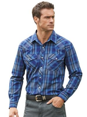 Western Shirt  Go ahead... make your day! Get yourself one of these roguish, rough and tumble shirts! Wash and wear woven polyester/cotton features an easy snap front & 2 chest pockets. Choose plaids or stripes.