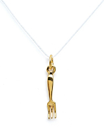 18Kt Plated Gold Charm on Cord - Fork