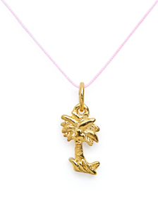 18Kt Plated Gold Charm on Cord - Palm Tree