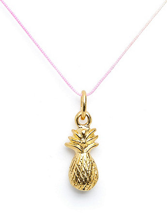 18Kt Plated Gold Charm on Cord - Pineapple