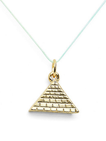 18Kt Plated Gold Charm on Cord - Pyramid