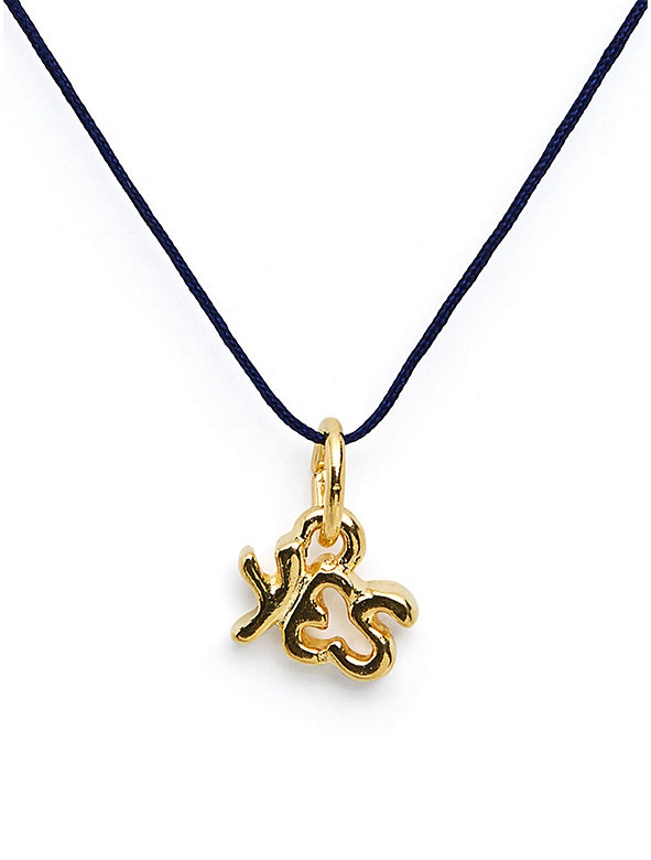 18Kt Plated Gold Charm on Cord - Yes