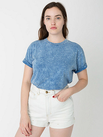 Unisex Acid Wash Jersey Short Sleeve Crew Neck T-Shirt
