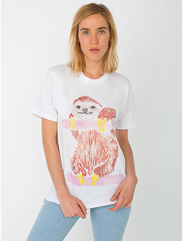 Unisex Organic Fine Jersey Short Sleeve T-Shirt - Sloth