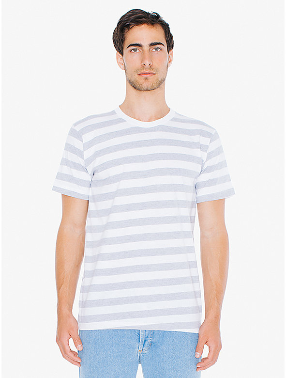 Striped Fine Jersey Crewneck T-Shirt