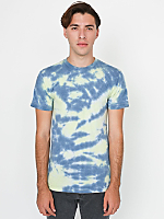 Fluorescent Yellow Navy Splash Tie Dye Fine Jersey Short Sleeve T-Shirt
