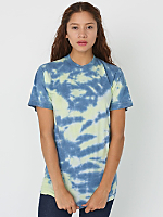 Unisex Fluorescent Yellow Navy Splash Tie Dye Fine Jersey Short Sleeve T-Shirt