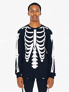 Glow Skeleton Screen Printed Fine Jersey Long Sleeve T-Shirt