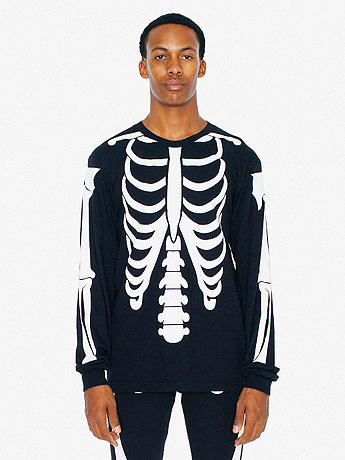 Glow Skeleton Screen Printed Fine Jersey Long Sleeve T-Shirt