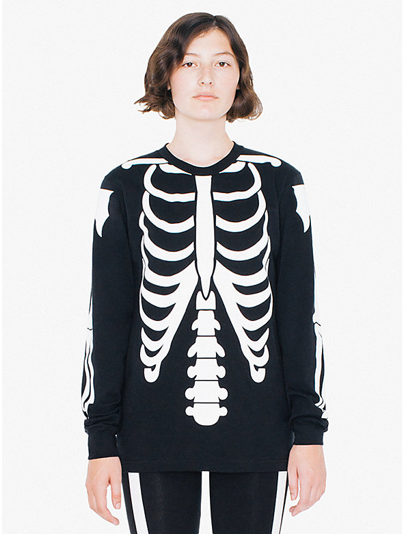 Unisex Glow Skeleton Fine Jersey Crewneck Long Sleeve T-Shirt