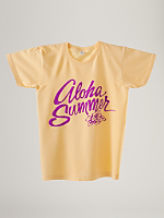 Screen Printed Power Washed Tee - Aloha Summer