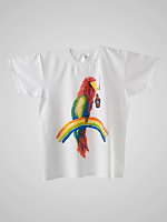 Screen Printed Power Washed Tee - Party Parrot
