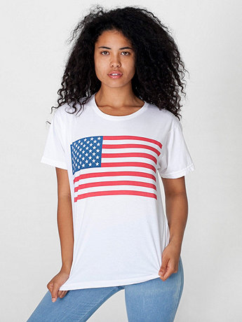 Screen Printed Unisex Power Washed Flag Tee