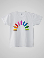 Screen Printed Power Washed Tee - Lighter Rainbow