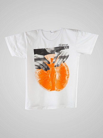Screen Printed Power Washed Tee - Orange Wedge