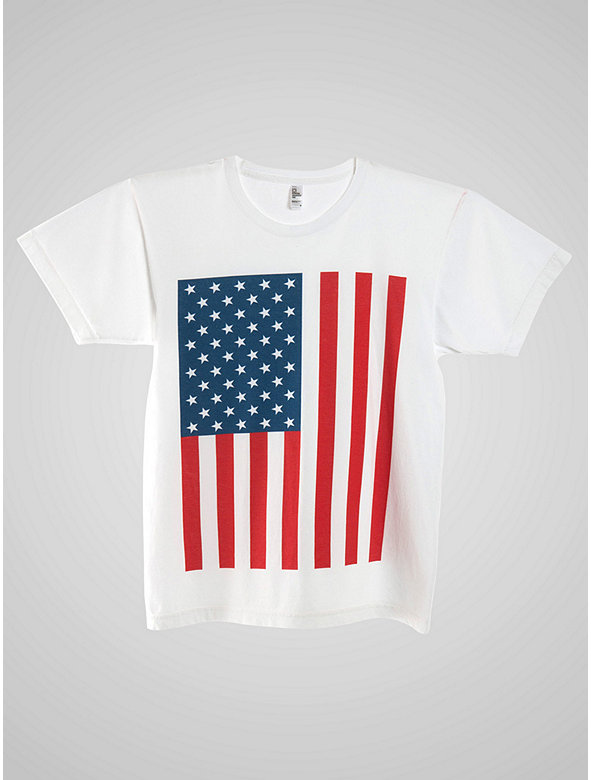 US Flag Power Wash Crewneck T-Shirt