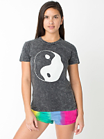 Screen Printed Acid Wash Fine Jersey Short Sleeve Women's T - Ying Yang
