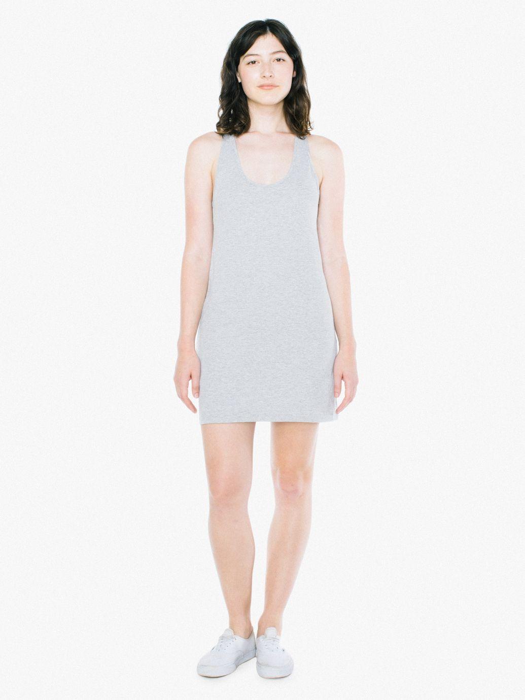 Short Whitecotton Ribbed Tank Dress