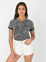 Unisex Acid Wash Fine Jersey Pocket Short Sleeve T-Shirt