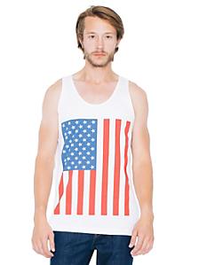 US Flag Print Fine Jersey Tank