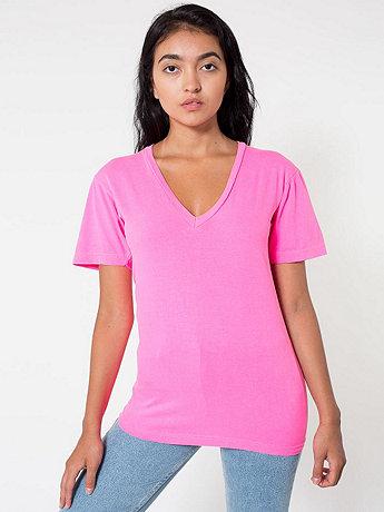 Unisex Highlighter Fine Jersey Short Sleeve V-Neck