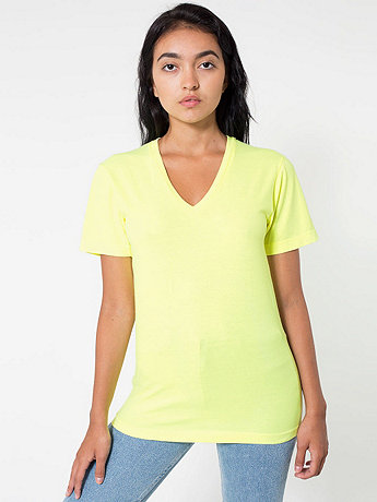 Unisex Highlighter Fine Jersey Short Sleeve V-Neck