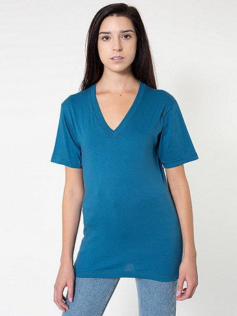 Unisex Organic Fine Jersey Short Sleeve V-Neck