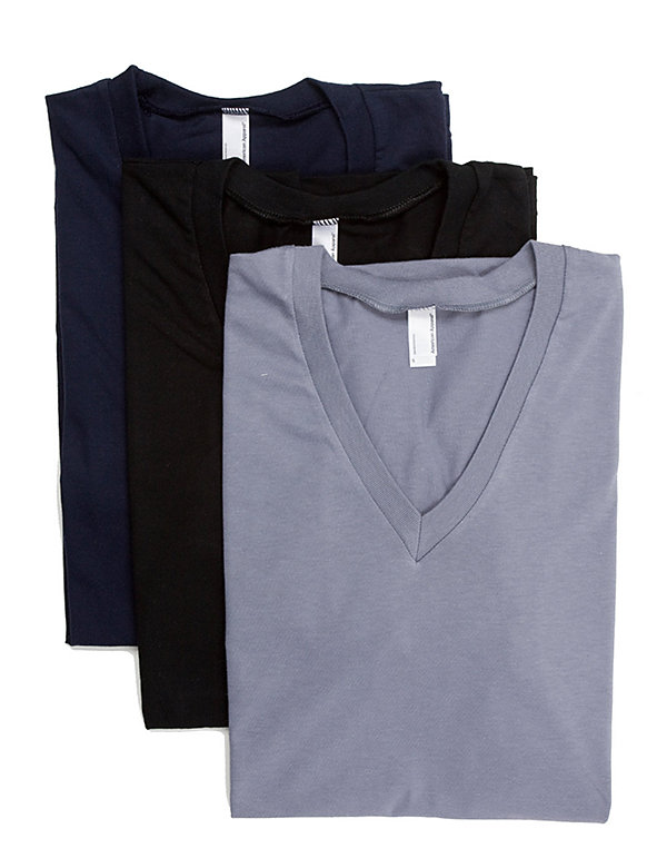 Fine Jersey Short Sleeve V-Neck (3-Pack)