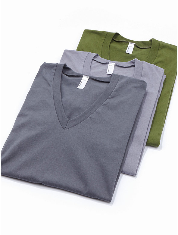 Fine Jersey Short Sleeve V-Neck (3-Pack)