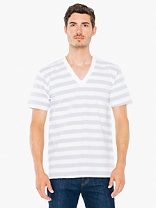 Fine Jersey Stripe Short Sleeve V-Neck