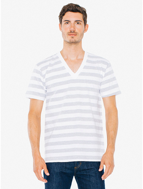 Striped Fine Jersey V-Neck T-Shirt