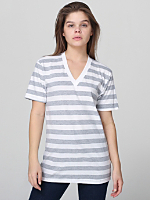 Unisex Fine Jersey Stripe Short Sleeve V-Neck