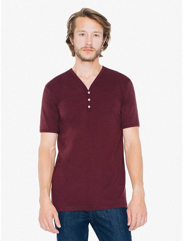 Fine Jersey Henley V-Neck T-Shirt