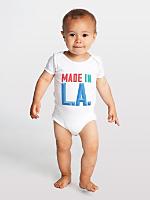 Screen Printed Infant Baby Rib Short Sleeve One-Piece - Made In LA