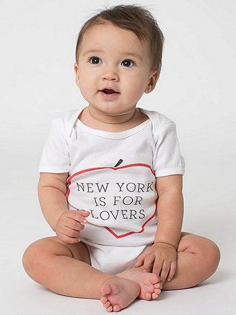 Printed Infant Baby Rib Short Sleeve One-Piece - New York Lovers