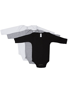 Infant Baby Rib Long Sleeve One-Piece (3-Pack)