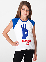 Youth America Screen Print Baby Rib Cap Sleeve Raglan