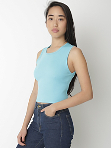 Baby Rib Sleeveless Crop Crew Neck