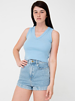 Baby Rib Sleeveless Crop V-neck