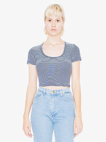 Striped Baby Rib Crop T