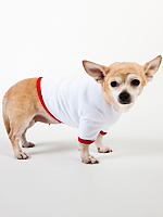 White & Red Baby Rib Dog T