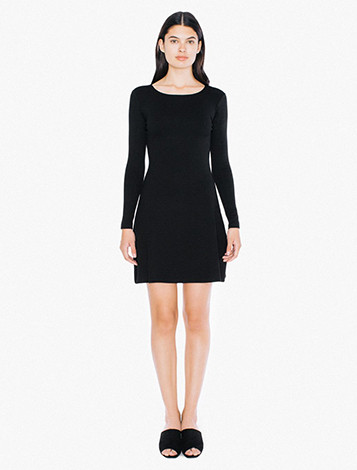 Ponte Long Sleeve A-Line Mini Dress