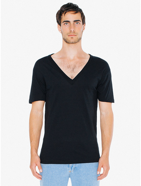 Sheer Jersey Deep V-Neck T-Shirt
