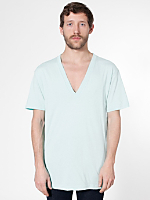 Sheer Jersey Short Sleeve Deep V-Neck