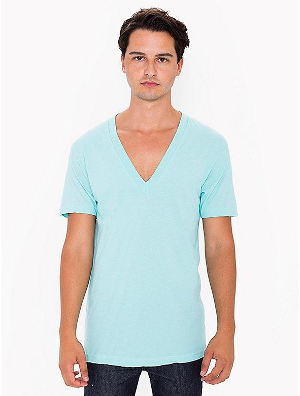 Sheer Jersey Deep V-Neck T-Shirt