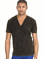 Acid Wash Jersey Deep V-Neck Short Sleeve Summer T