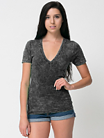 Unisex Acid Wash Jersey Deep V-Neck Short Sleeve Summer T