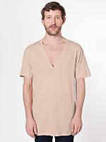 Sheer Jersey Short Sleeve Deep V-Neck