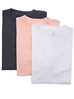 Sheer Jersey Short Sleeve Deep V-Neck Tee (3-Pack)