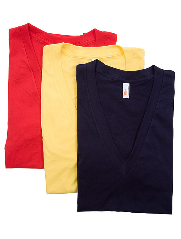 Sheer Jersey Short Sleeve Deep V-Neck Tee (3-Pack)